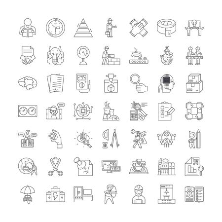 Research and development line icons, signs, symbols vector, linear illustration set