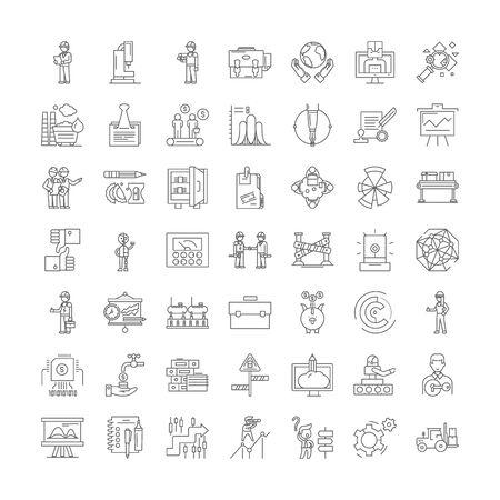 Icônes de ligne d'expérimentation, signes, vecteur de symboles, ensemble d'illustrations linéaires Vecteurs
