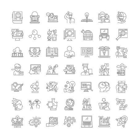 Research development line icons, signs, symbols vector, linear illustration set