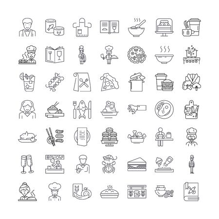 Restaurant line icons, signs, symbols vector, linear illustration set
