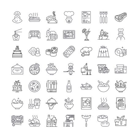 Horeca line icons, signs, symbols vector, linear illustration set