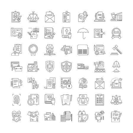 Regelliniensymbole, Zeichen, Symbolvektor, linearer Illustrationssatz Vektorgrafik