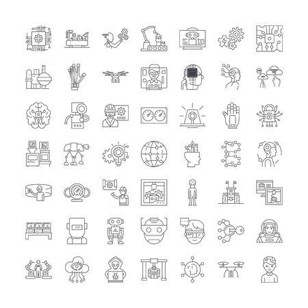 Robotics line icons, signs, symbols vector, linear illustration set