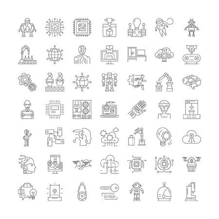 Robotics engineering line icons, signs, symbols vector, linear illustration set