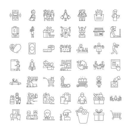 Sales people line icons, signs, symbols vector, linear illustration set Illustration