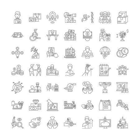 Verkaufssystem-Liniensymbole, Zeichen, Symbolvektor, linearer Illustrationssatz