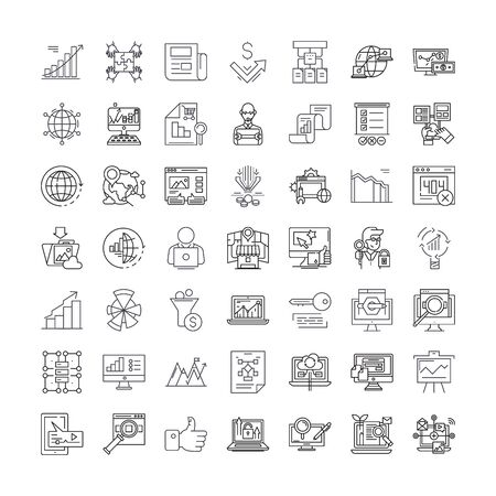 Search engine marketing line icons, signs, symbols vector, linear illustration set