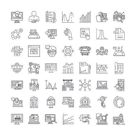 Search engine optimization line icons, signs, symbols vector, linear illustration set