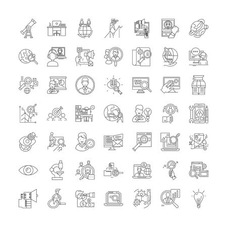 Searching people line icons, signs, symbols vector, linear illustration set