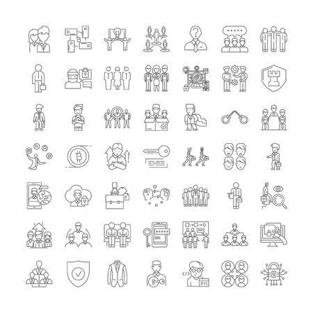 Security line icons, signs, symbols vector, linear illustration set Illusztráció