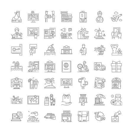 Service line icons, signs, symbols vector, linear illustration set Ilustracja