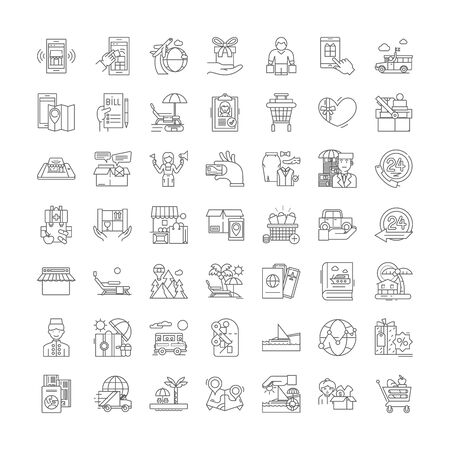 Hotel services line icons, signs, symbols vector, linear illustration set