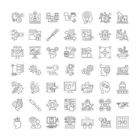Settings line icons, signs, symbols vector, linear illustration set Иллюстрация