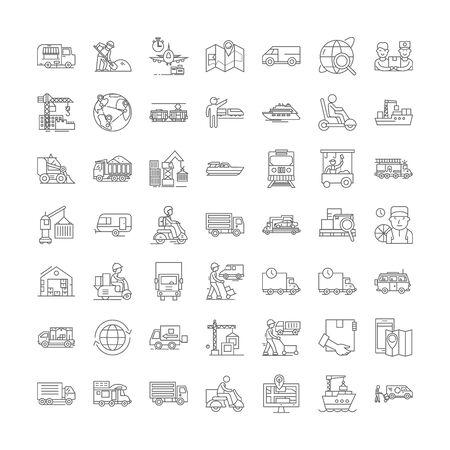 Shipping line icons, signs, symbols vector, linear illustration set Ilustração