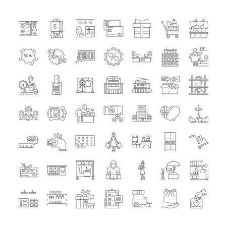 Shopping mall line icons, signs, symbols vector, linear illustration set 免版税图像 - 134820692