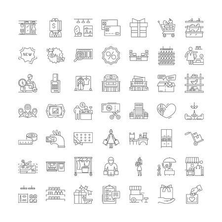 Winkelcentrum lijn pictogrammen, tekens, symbolen vector, lineaire afbeelding set