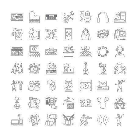 Acoustics line icons, signs, symbols vector, linear illustration set