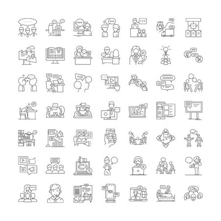 Icônes de ligne de conférence, signes, vecteur de symboles, ensemble d'illustrations linéaires
