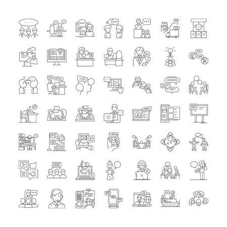 Iconos de línea de conferencia, signos, símbolos vectoriales, conjunto de ilustraciones lineales