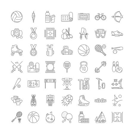 Sport equipment line icons, signs, symbols vector, linear illustration set Ilustracja