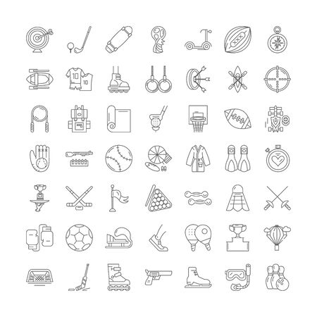 Sports equipment line icons, signs, symbols vector, linear illustration set Ilustracja