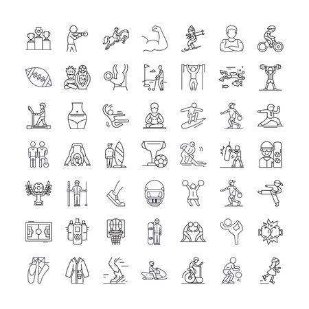 Sport line icons, signs, symbols vector, linear illustration set