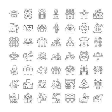 Office team line icons, signs, symbols vector, linear illustration set