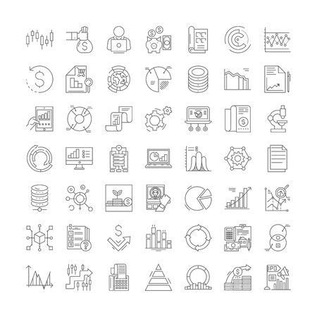 Economics science line icons, signs, symbols vector, linear illustration set 向量圖像