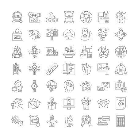 Strategic management line icons, signs, symbols vector, linear illustration set Vecteurs