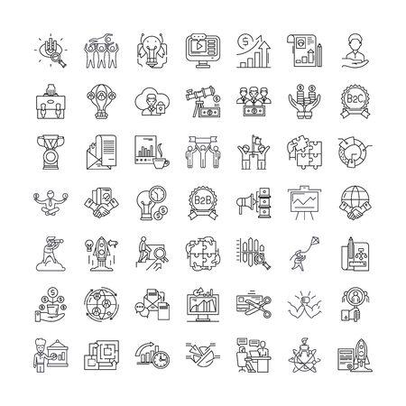 Strategy line icons, signs, symbols vector, linear illustration set Ilustracja