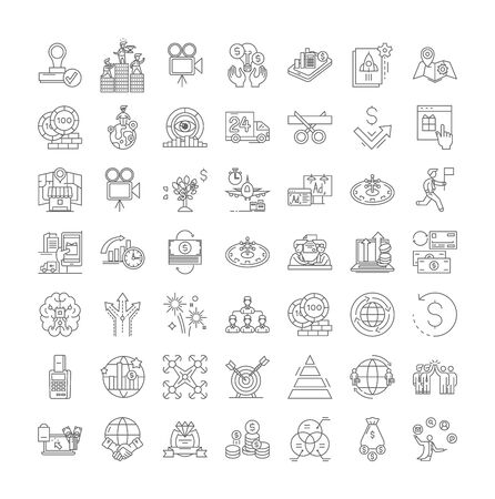 Successful business line icons, signs, symbols vector, linear illustration set