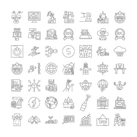 Business supervision line icons, signs, symbols vector, linear illustration set 版權商用圖片 - 134820615
