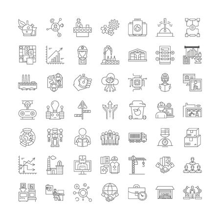 Manufacturer factory line icons, signs, symbols vector, linear illustration set