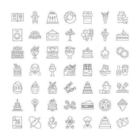 Sweets, candy line icons, signs, symbols vector, linear illustration set Illustration