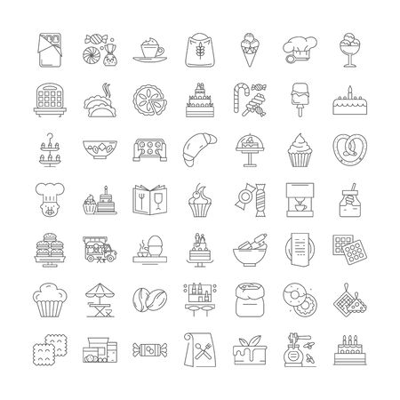 Desserts line icons, signs, symbols vector, linear illustration set