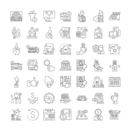 Taxation line icons, signs, symbols vector, linear illustration set 向量圖像