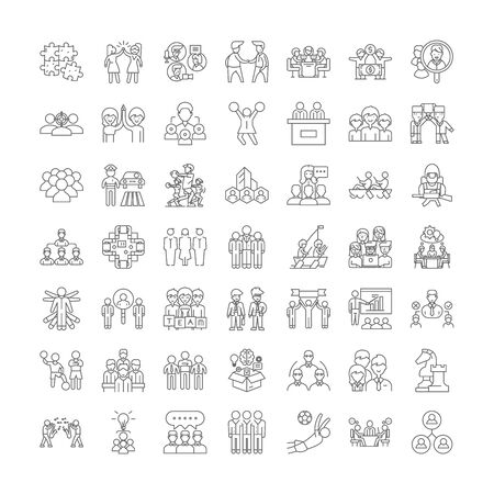 Team line icons, signs, symbols vector, linear illustration set Ilustracja