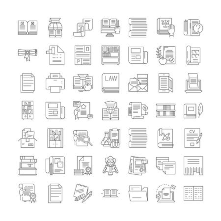 Writing line icons, signs, symbols vector, linear illustration set