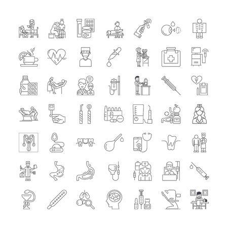 Icônes de ligne de thérapie, signes, vecteur de symboles, ensemble d'illustrations linéaires