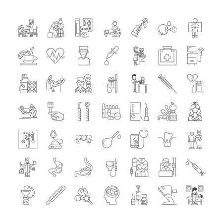 Therapy line icons, signs, symbols vector, linear illustration set Ilustracja