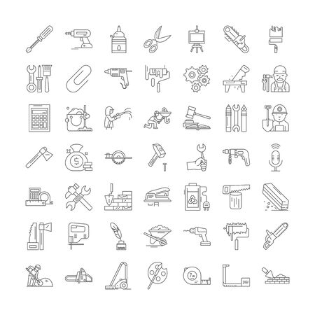 Tools line icons, signs, symbols vector, linear illustration set Иллюстрация