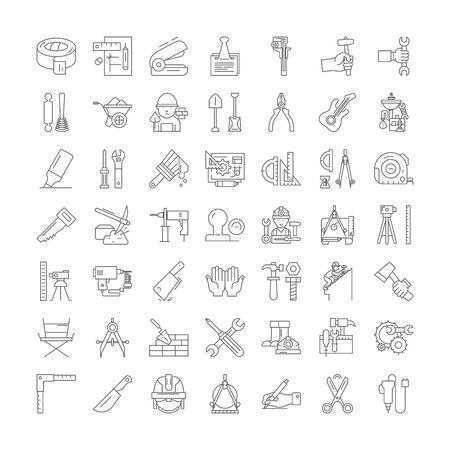 Icônes de ligne d'outils de bricolage, signes, vecteur de symboles, ensemble d'illustrations linéaires