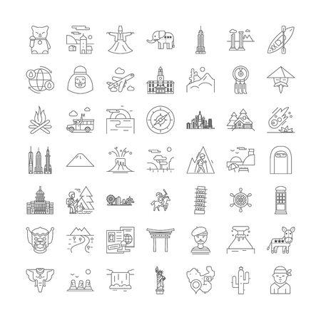 Tourism line icons, signs, symbols vector, linear illustration set Illustration