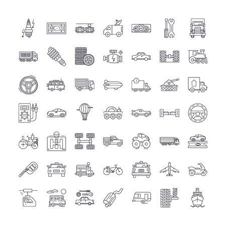 Ikony linii pojazdów transportowych, znaki, symbole wektor, zestaw ilustracji liniowych