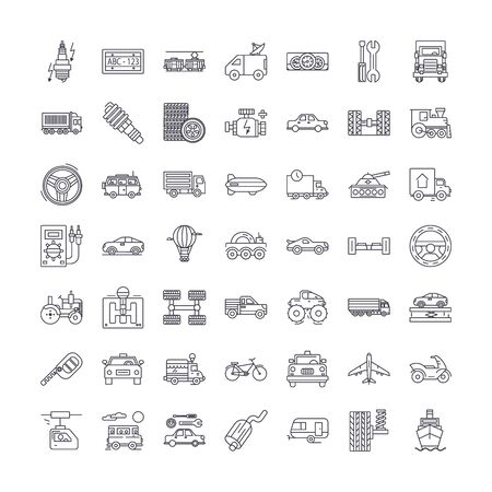 Transport vehicles line icons, signs, symbols vector, linear illustration set