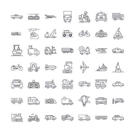 Transport line icons, signs, symbols vector, linear illustration set