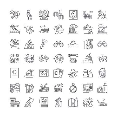 Travel line icons, signs, symbols vector, linear illustration set