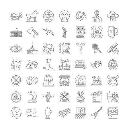 American culture line icons, signs, symbols vector, linear illustration set Banque d'images - 134820498