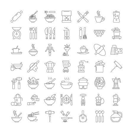 kitchen utensils line icons, signs, symbols vector, linear illustration set