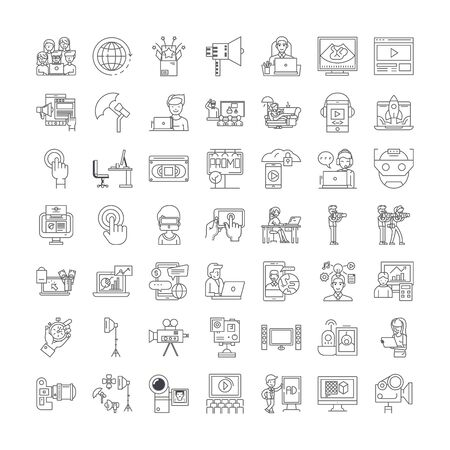 Video production line icons, signs, symbols vector, linear illustration set